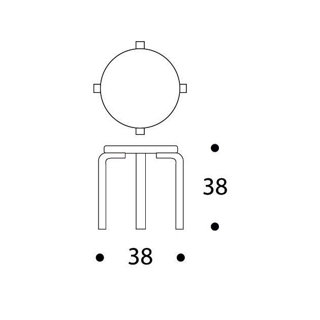dimensiones taburete de niños NE60 de Artek