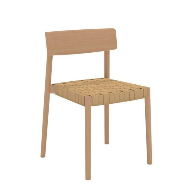 comprar Silla Smart SI-0612 Andreu World madera y cincha beige