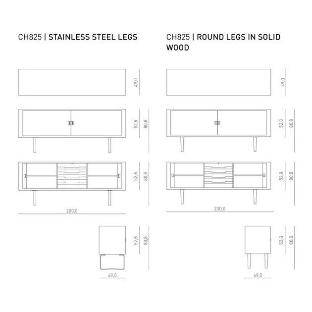 medidas Aparador credenza CH825 de Carl Hansen. Disponible en Moisés showroom
