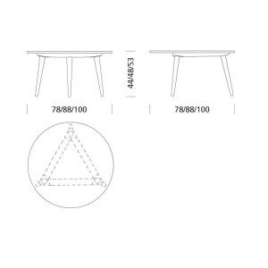 dimensiones Mesa CH008  diámetro 100 cm de Carl Hansen. Disponible en Moisés showroom