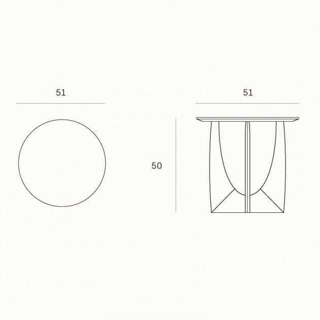 Medidas de la mesa auxiliar Geometric Roble negro de Ethnicraft en Moises Showroom