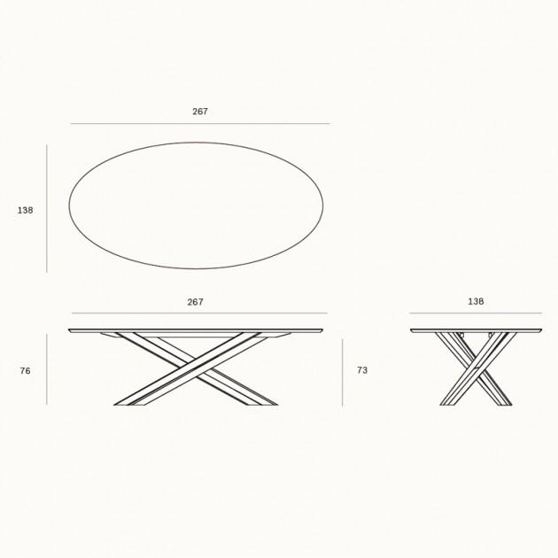 Medidas mesa de comedor Mikado Oval de Ethnicraft en Moises Showroom
