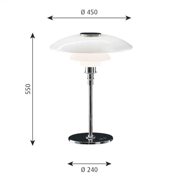 Lámpara PH 4½-3½ Glass Table Louis Poulsen medidas