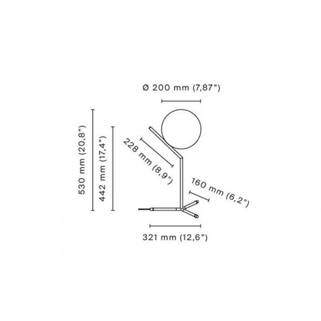Lámpara IC T1 High Flos medidas