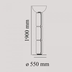 Lámpara Noctambule Floor 3 High Cylinders Bowl Big Base Flos medidas
