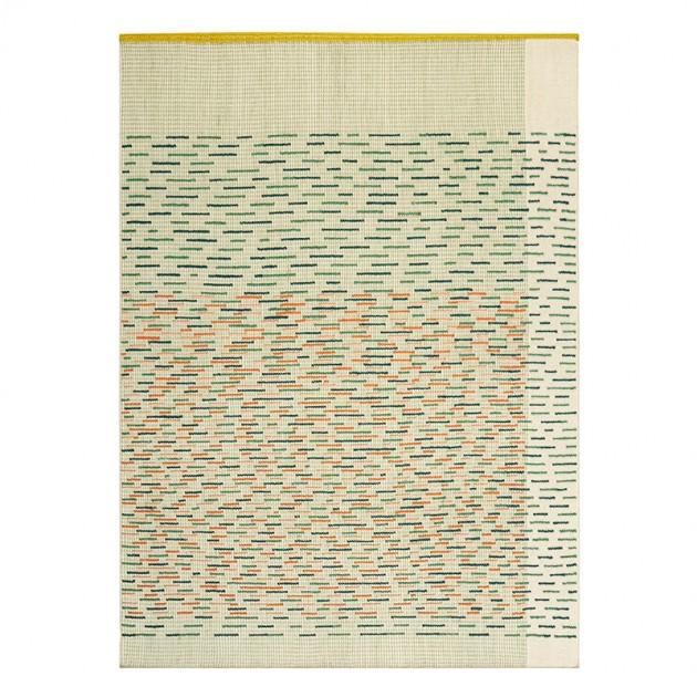 Alfombra Kilim Backstitch Busy Verde de Gan Rugs en Moises Showroom