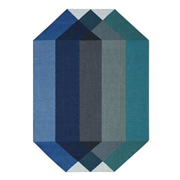 Kilim Diamond Blue-Yellow de Gan Rugs en Moises Showroom