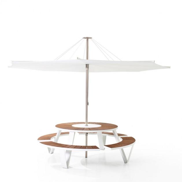 Combinación Parasol Inumbrina 380 con mesa redonda Pantagruel de extremis