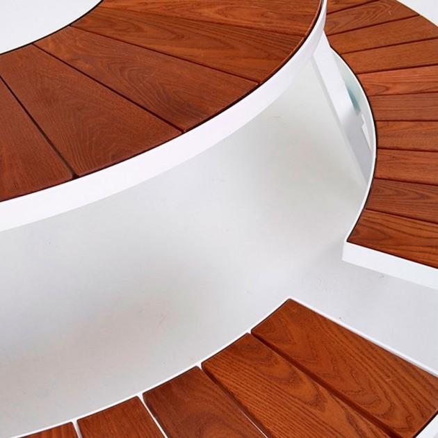 Detalle madera y asientos Mesa redonda picnic Pantagruel extremis