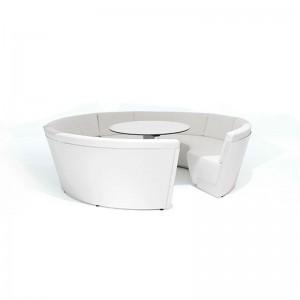 Mesa Kosmos low cojines bajos de cuero sintético color blanco mesa fija de Extremis disponible en Moisés Showroom