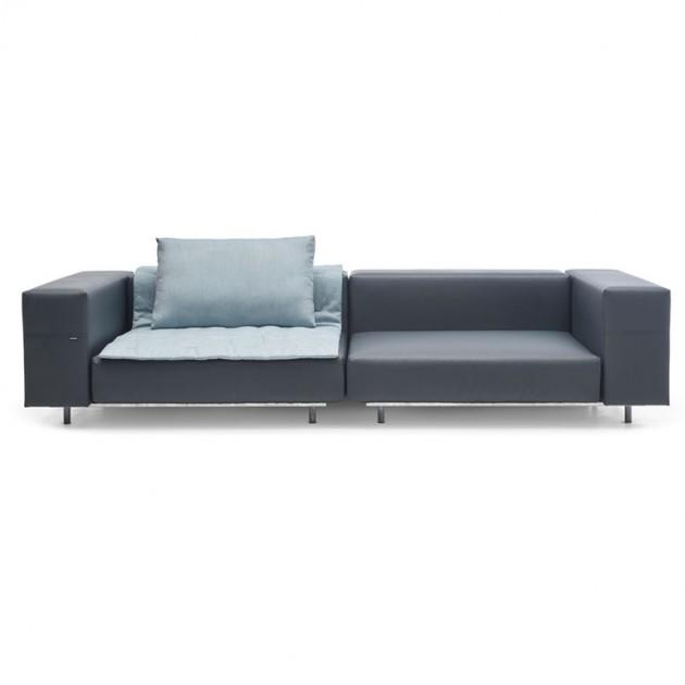 Sofá de esquina Walrus color gris oscuro cojín 110cms de extremis disponible en Moisés Showroom