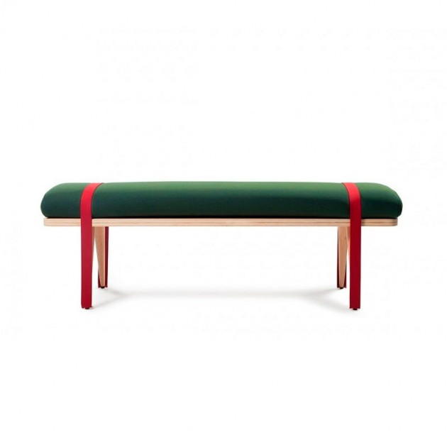 Banco On the road color verde y rojo de RS Barcelona. Disponible en Moisés Showroom
