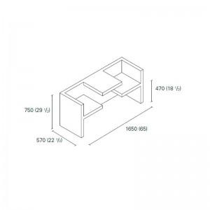 Dimensiones Mesa-banco Tafel de E15. Disponible en Moisés showroom