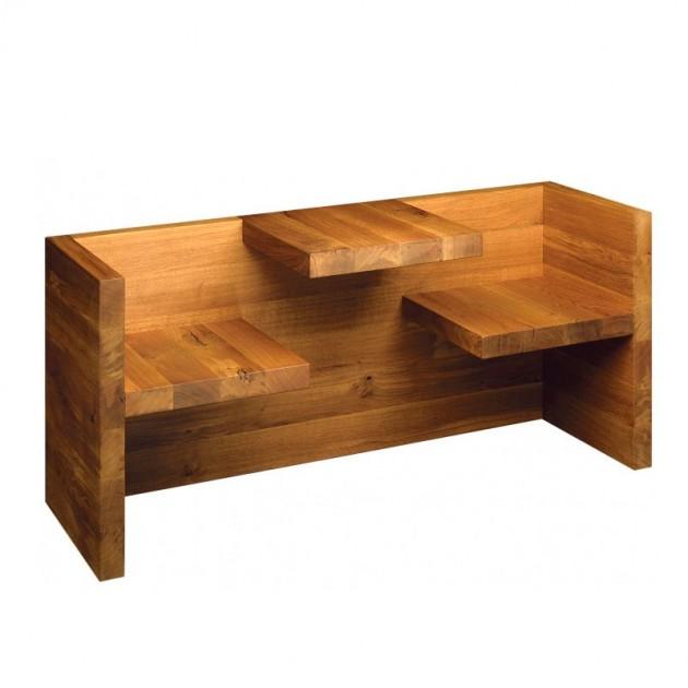 Mesa-banco Tafel en roble aceitado de E15. Disponible en Moisés showroom