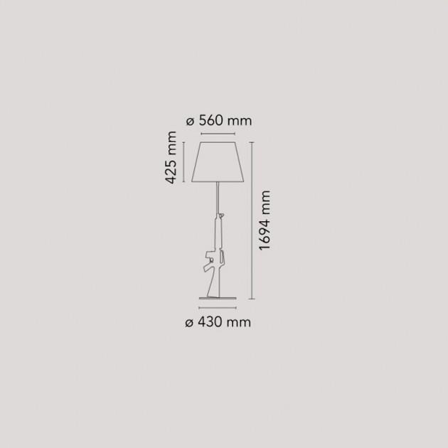 Dimensiones lámpara Lounge Gun de Flos. Disponible en Moisés showroom