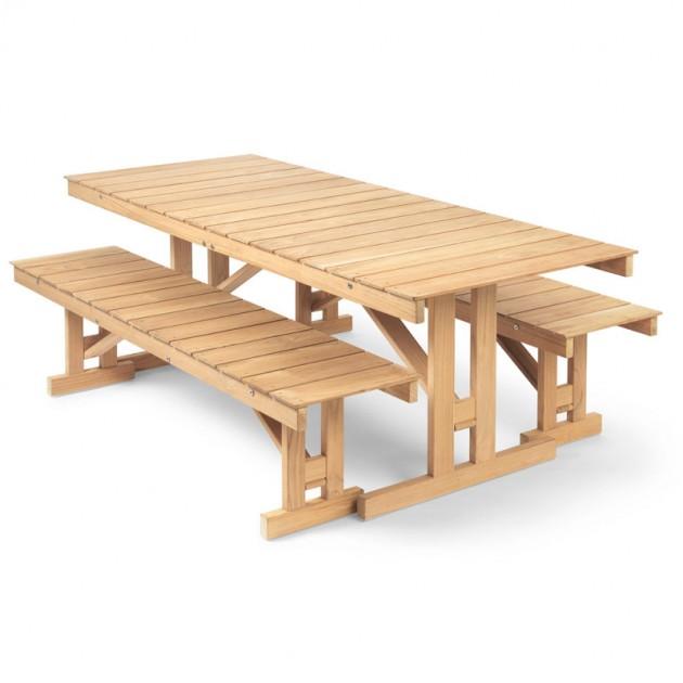 Mesa BM1771 y Banco BM1871 madera de teca Carl Hansen. Disponible en Moisés showroom