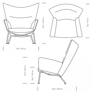 Dimensiones sillón wing chair carl Hansen