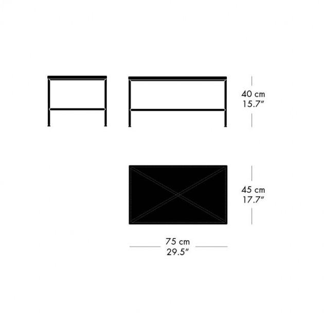 Medida mesa rectangular Planner de Mármol de Fritz Hansen en Moises Showroom