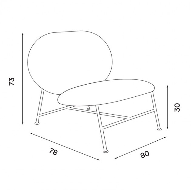 dimensiones silla Oblong de Northern. Disponible en Moisés showroom