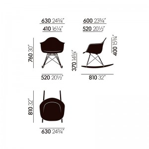 Medidas silla mecedora RAR de Vitra en Moises Showroom