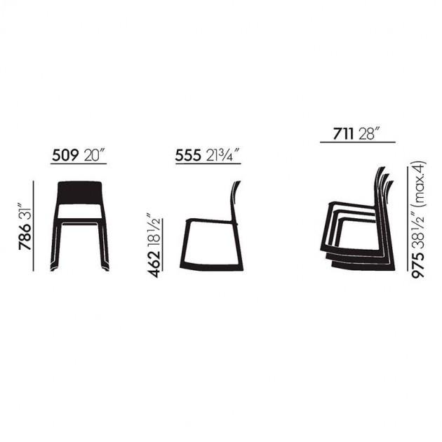 Medida silla Tip Ton de Vitra en Moises Showroom