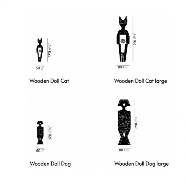 Wooden Dolls Cat & Dog medidas grandes y pequeños Vitra