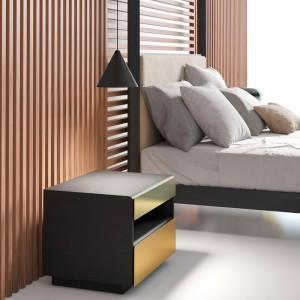 Dormitorio Mesilla Malmö 117 roble ebano frontal lacado metalizado oro de Punt Mobles
