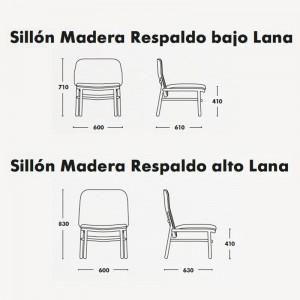 Medidas sillón lana Ondarreta en Moises Showroom