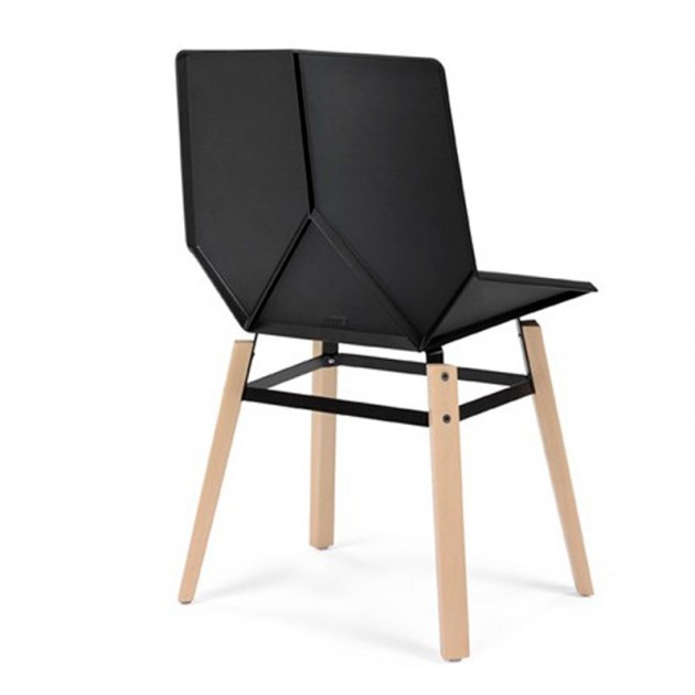 respaldo Silla Green patas madera Mobles 114 asiento negro