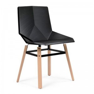 Silla Green patas madera Mobles 114 asiento negro