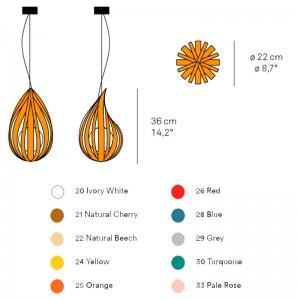 medidas y acabados Lámpara Luzifer Raindrop SG