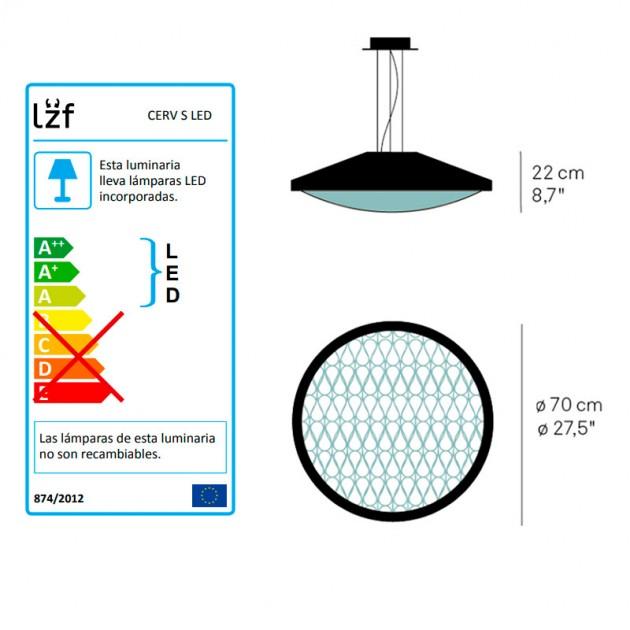 dimensiones y bombillas de lámpara suspensión Cervantes LZF