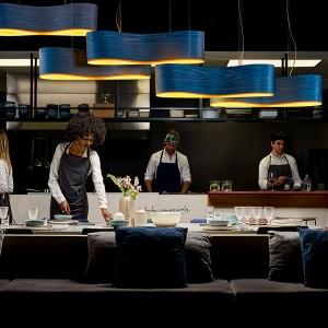 Restaurante Lámpara suspensión New Wave S azul