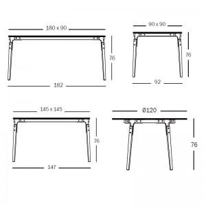 dimensiones mesas Steelwood Magis