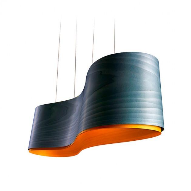 Lámpara suspensión New Wave S azul-amarillo LZF