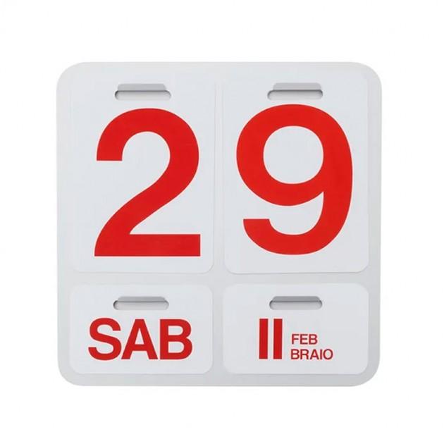 Calendario Formosa blanco números rojos Danese Milano