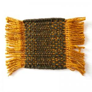 muestra tejido Alfombra Tres textura Mostaza exterior Nanimarquina