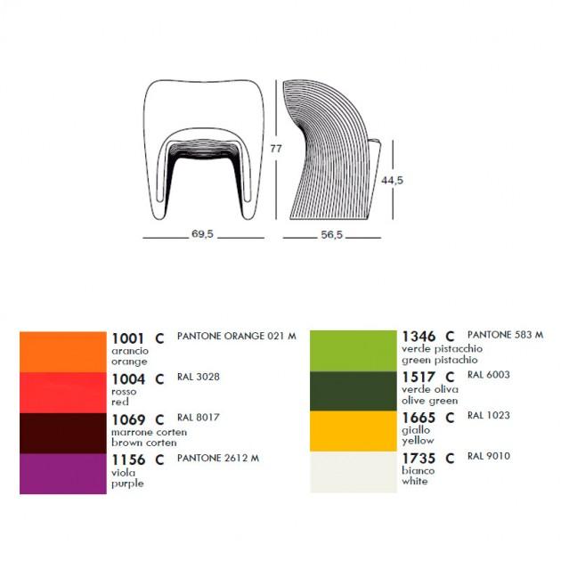 dimensiones y colores butaca Raviolo Magis