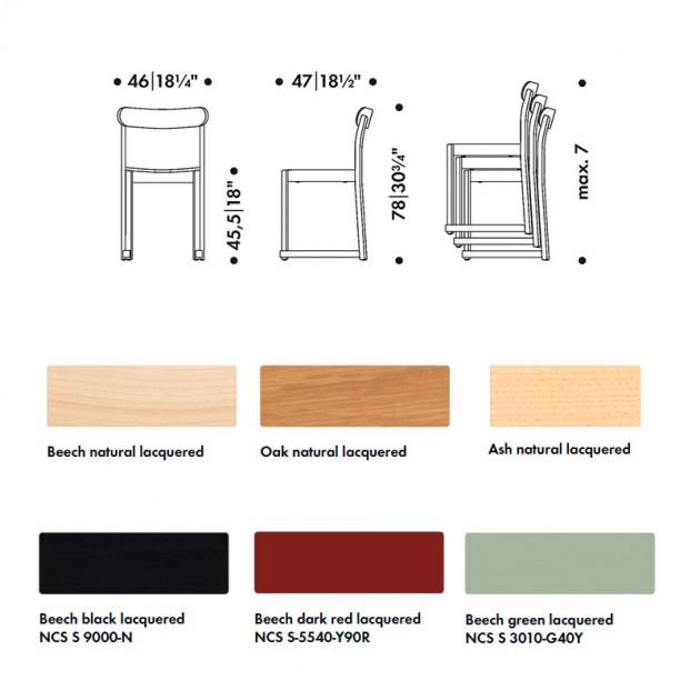 dimensiones y maderas Silla Atelier Artek