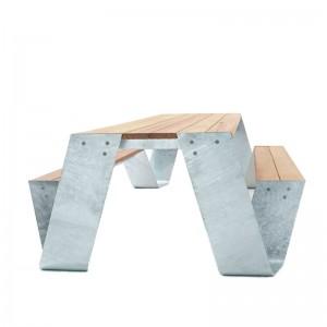 Mesa Hopper Picnic madera iroko color galvanizado de Extremis
