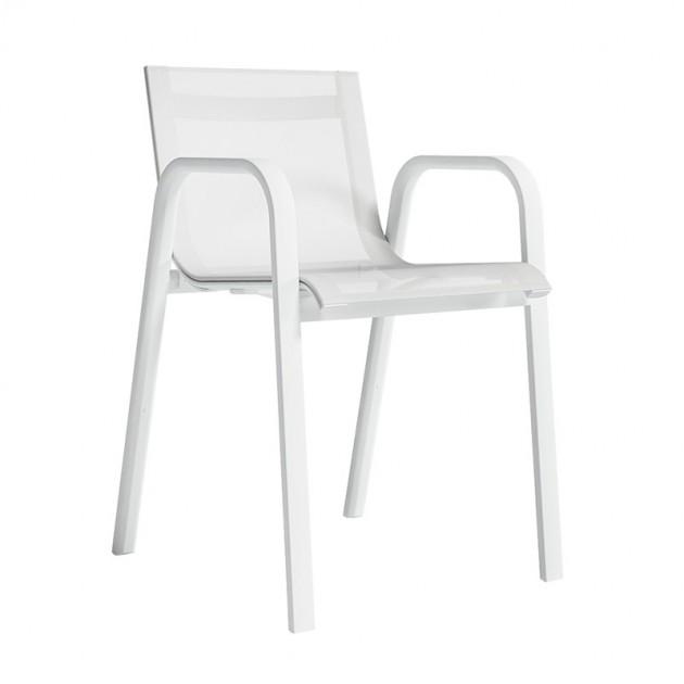 silla con brazos Stack apilable asiento Batyline blanco Gandia Blasco