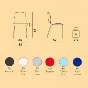 medidas y colores silla Maui Kartell