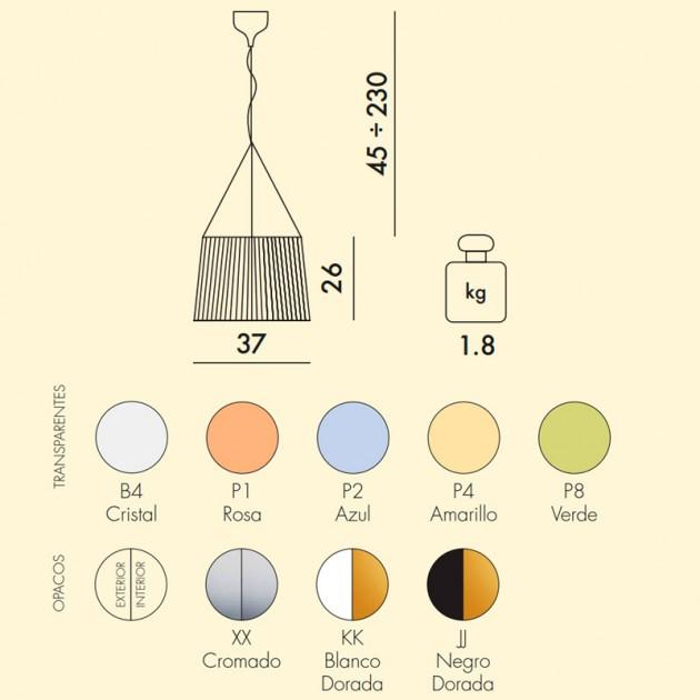 medidas y colores Lampara Gé Kartell