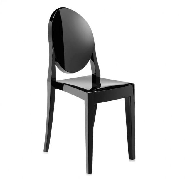 silla Victoria Ghost Kartell negro brillante