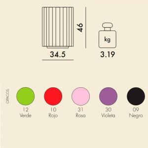 medidas y colores taburete Colonna Kartell
