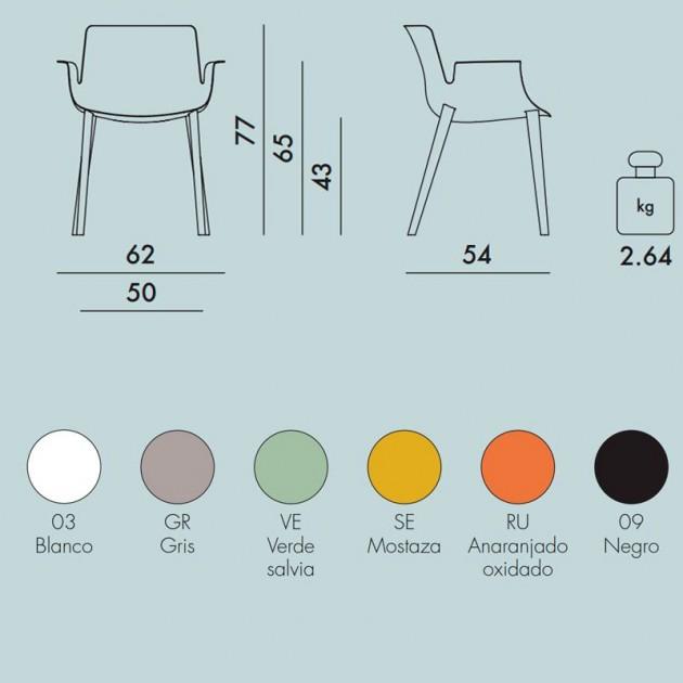 medidas y colores silla Piuma Kartell