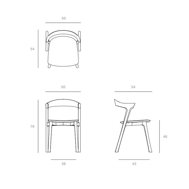 medidas silla Bok Teca Ethnicraft