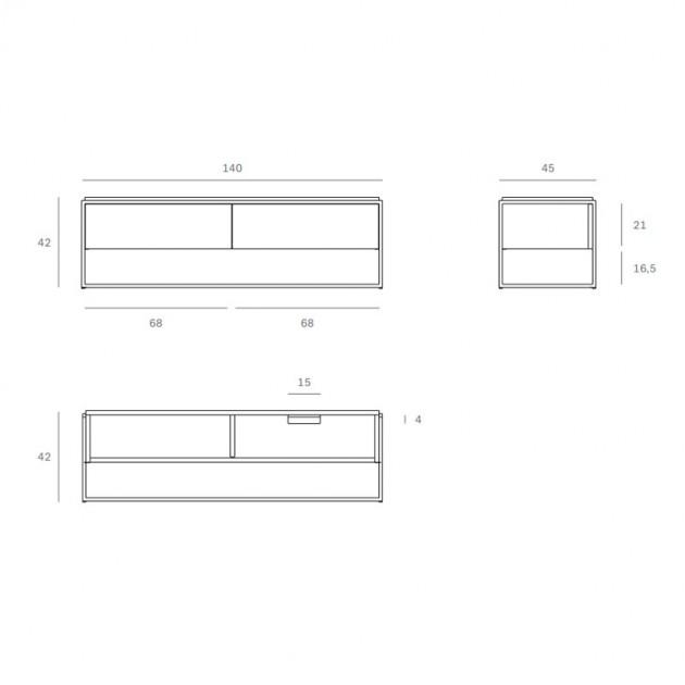 medidas mueble de televisión Monolit Ethnicraft