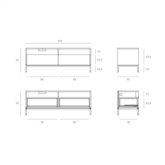 medidas mueble de TV Ligna 2 cajones Ethnicraft