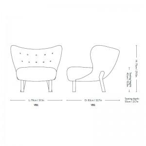 medidas sillón Little Petra VB1 Andtradition